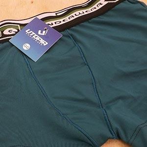 Cueca Boxer Infantil Microfibra Lisa Com Elástico Bordado Verde Pavão