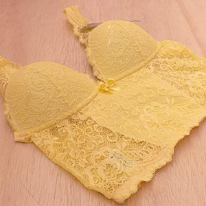 Top Renda Maitê Amarelo