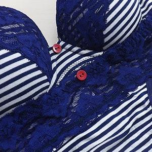 Conjunto Amora Com Duas Calcinhas  Azul Listrado