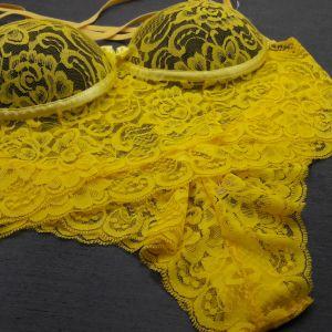 Conjunto Strappy Renda Amarelo/Preto