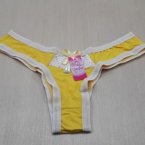 Calcinha lisa com renda Amarelo