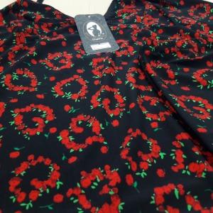 Preto/ Floral Rubi e Verde