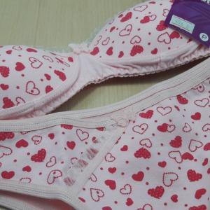 Conjunto  Infantil em Cotton Estampado Rosa Coração Poá