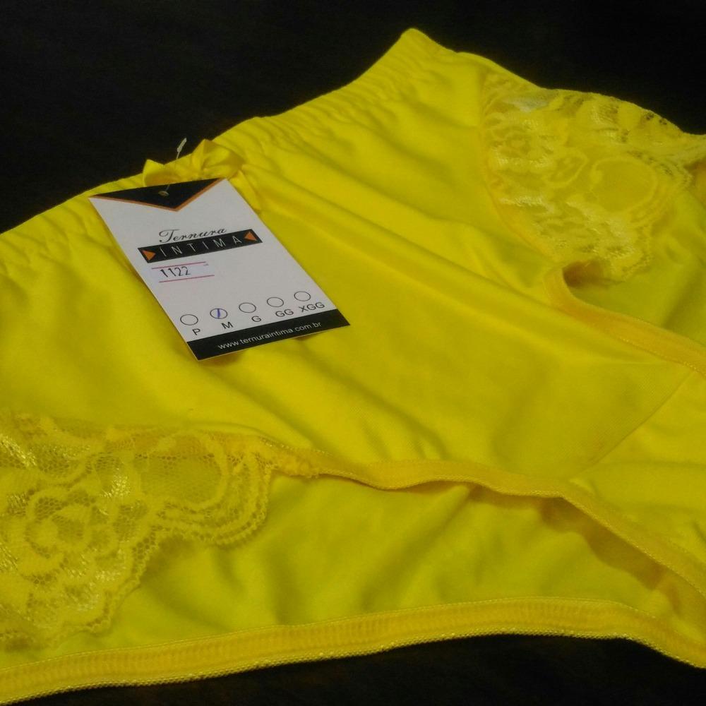 Calçola com Detalhe em Renda Amarelo