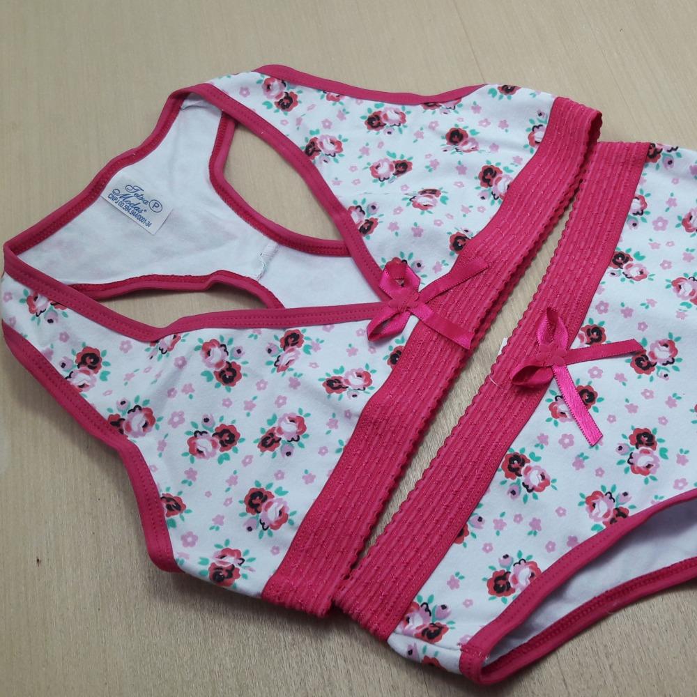 Conjunto Infantil Nadador de Cotton Estampado Viés Rosa Pink/ Estampas Variadas