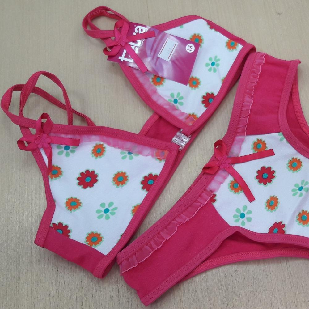 Conjunto Infantil Com Fecho Frontal  Viés Rosa Pink/ Estampas Variadas