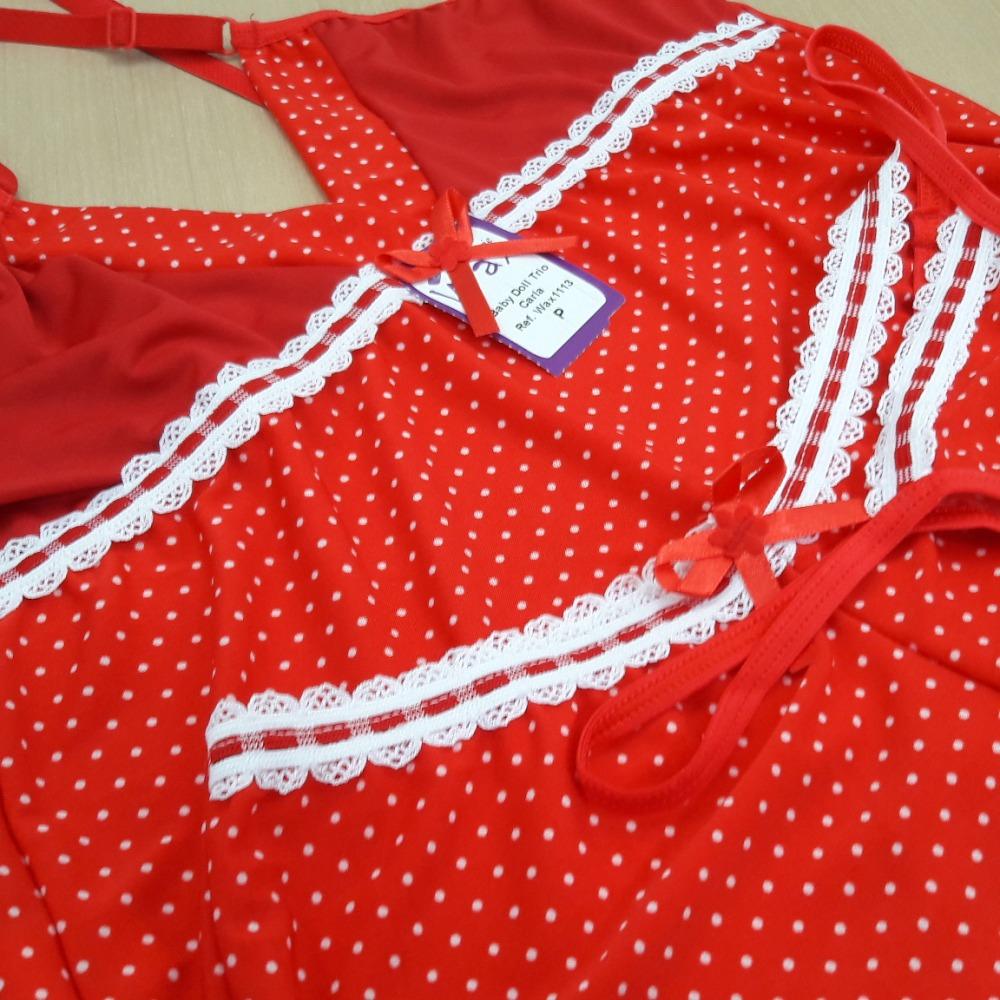 Baby Doll Trio Carla Vermelho Poá Branco