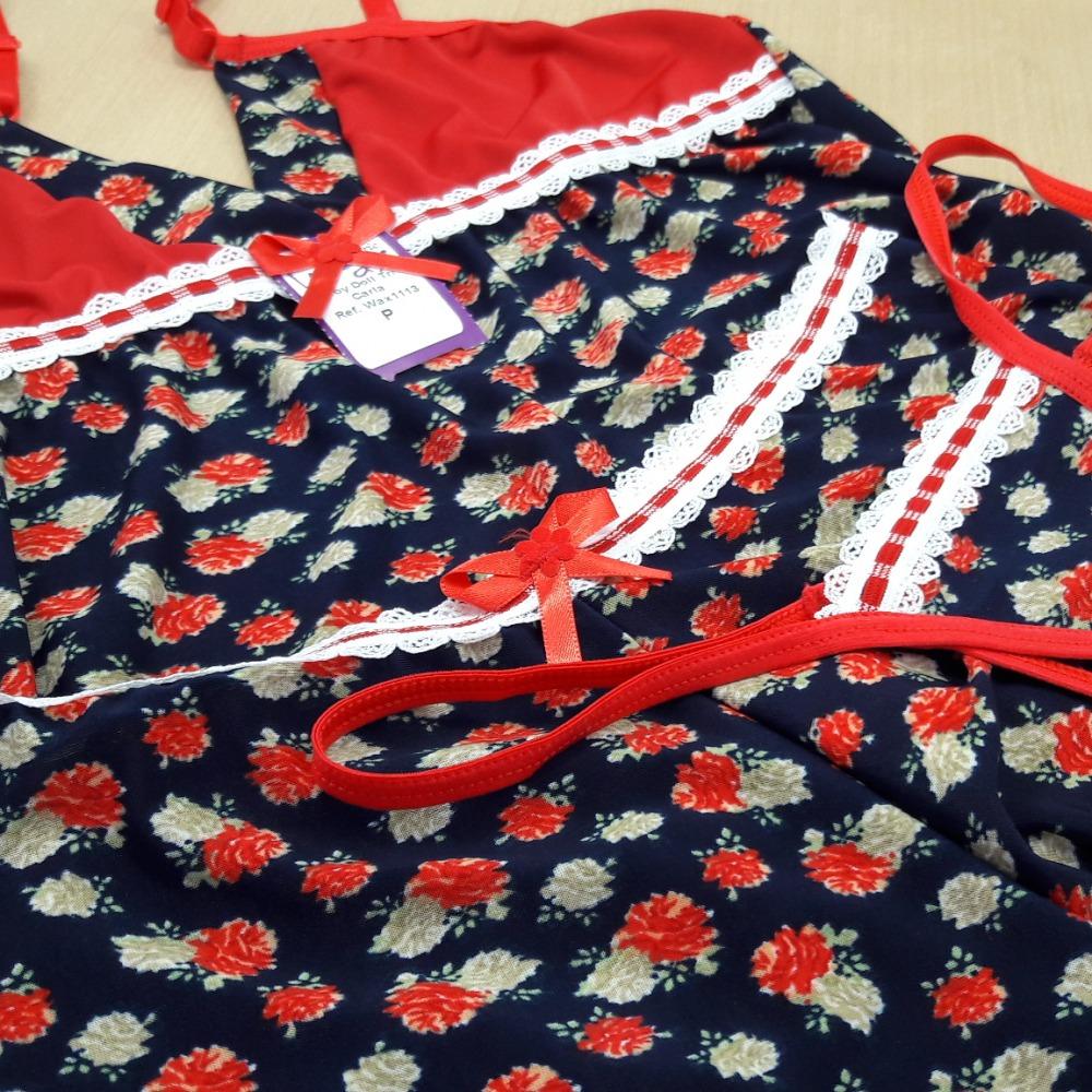 Baby Doll Trio Carla Fundo Marinho Floral Vermelho