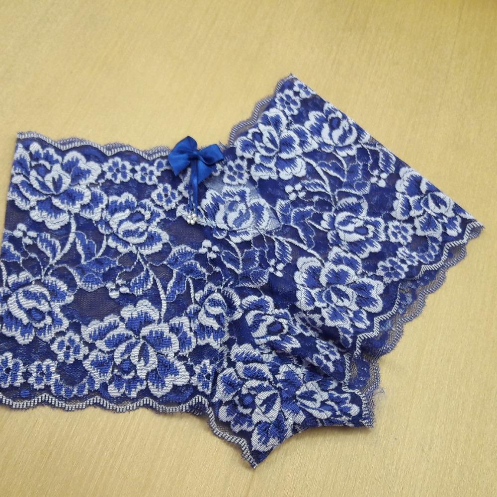 Caleçon Ana em Renda  Azul Bic/ Branco