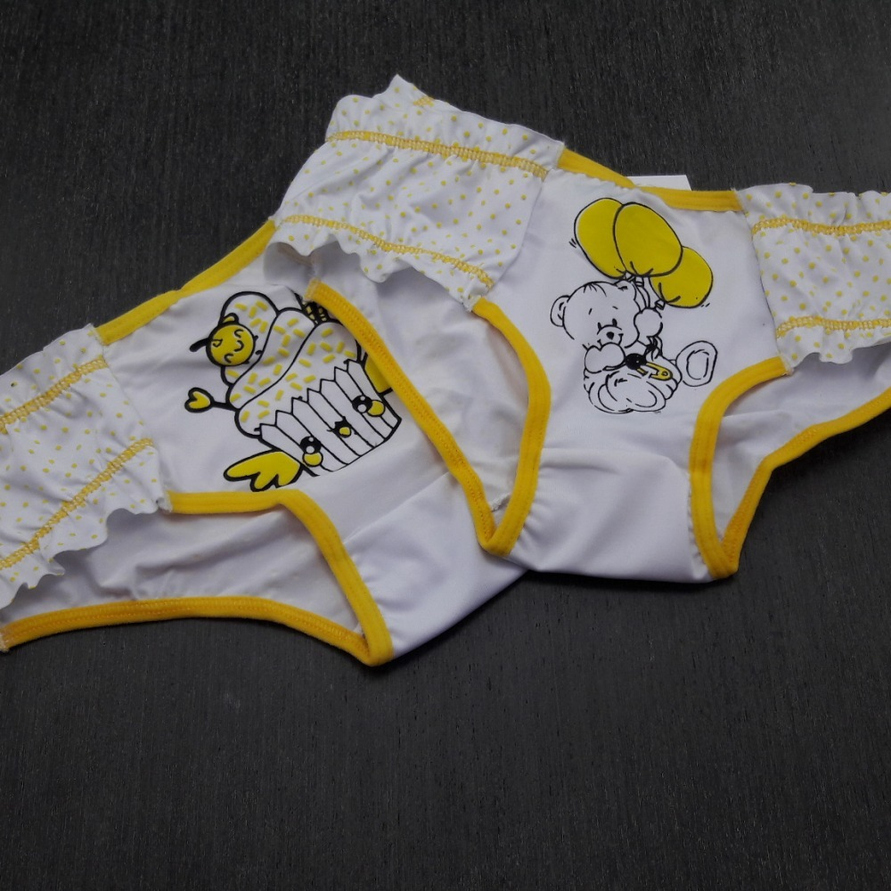 Calcinha Infantil Estampada Vi�s Amarelo/ Estampas Variadas