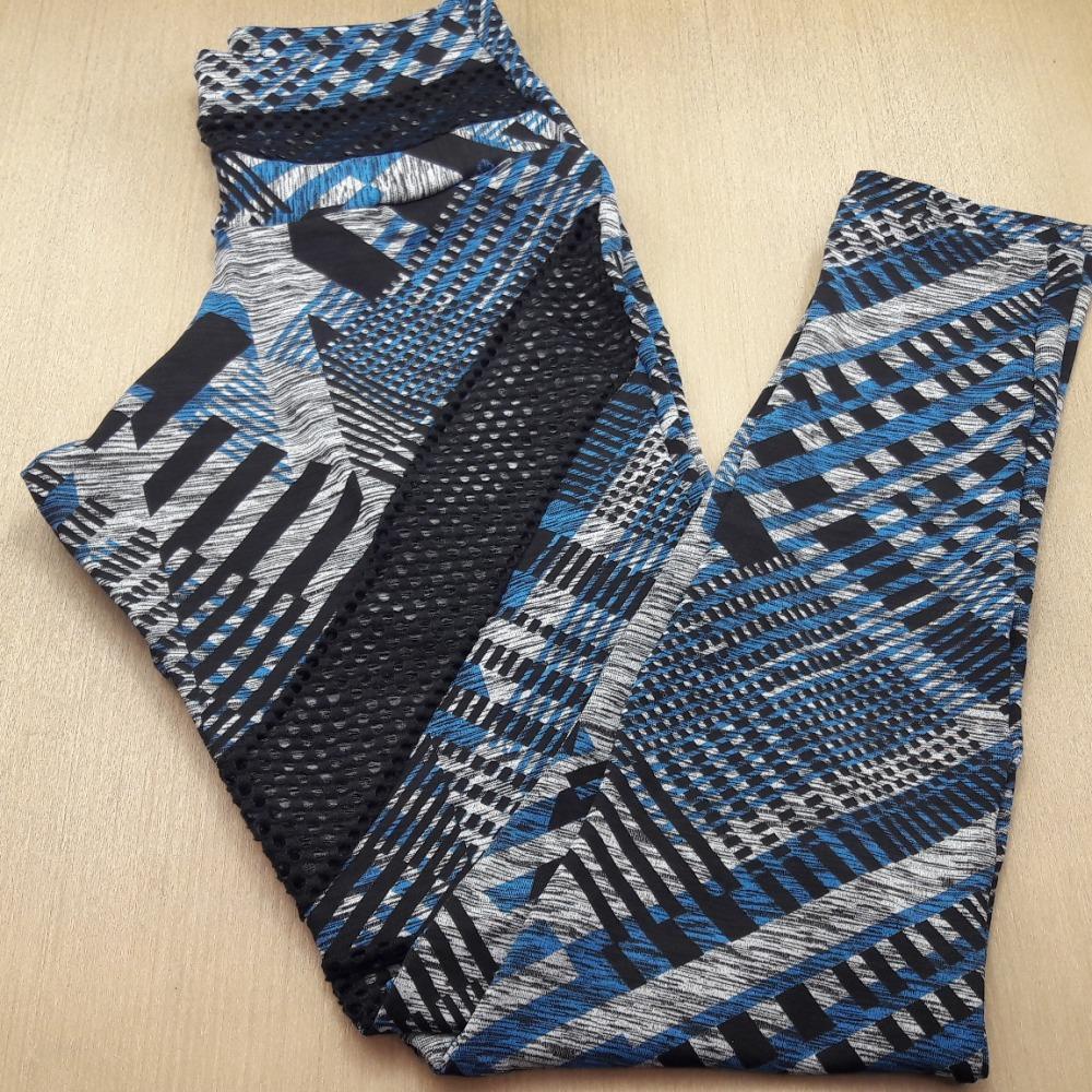 Cal�a Legging Com Rede Na Cintura Cinza / Azul Claro / Preto