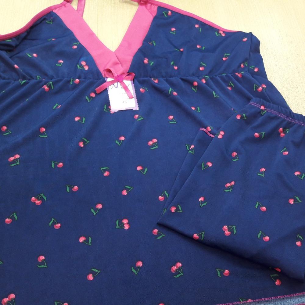 Short Doll Vera Plus Size Azul Marinho/ Cereja