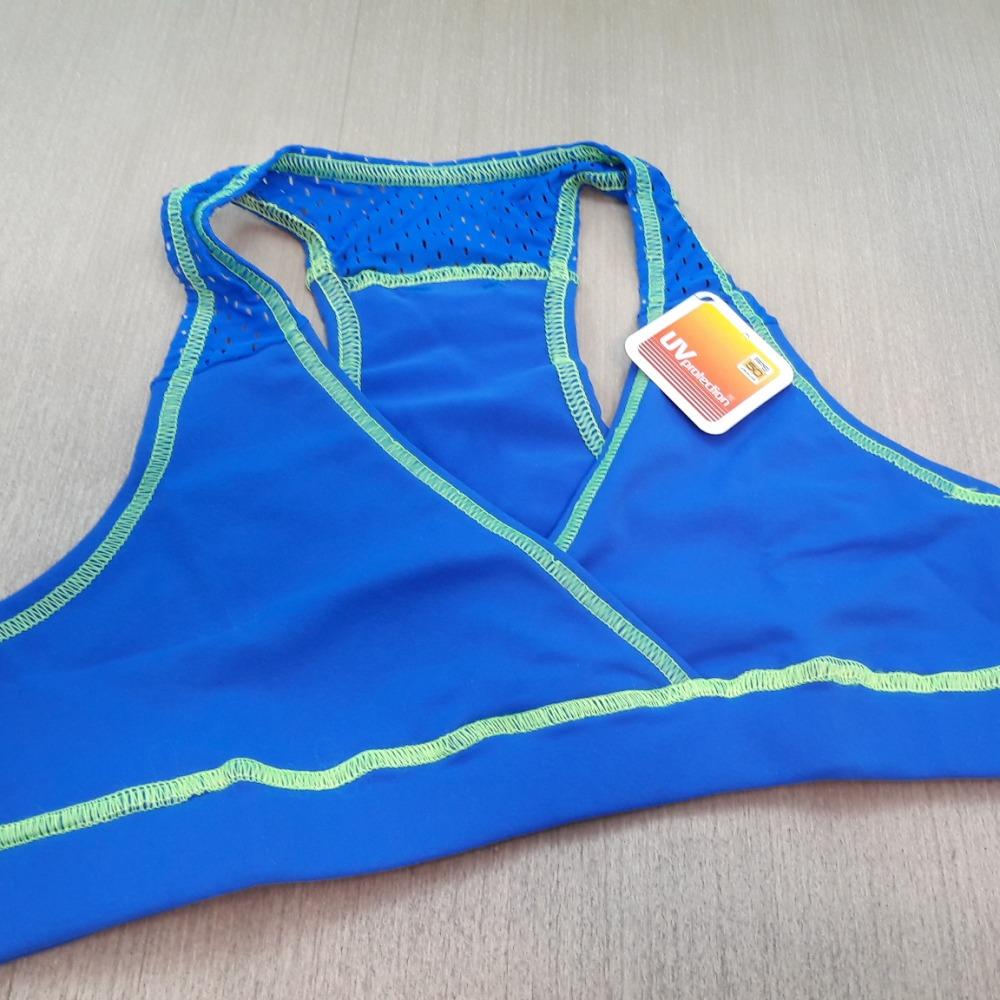 Top Nadador em Suplex de Poliamida Azul