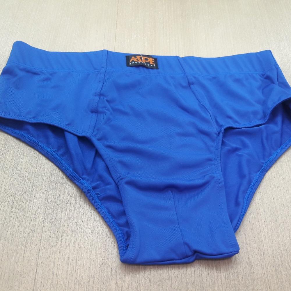 Cueca Slip Microfibra Lisa  Embutida Azul Bic