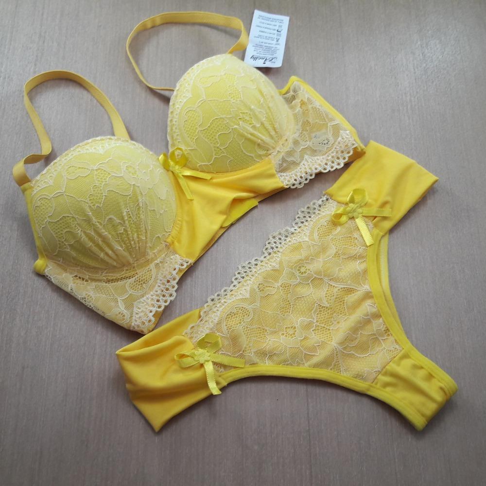 Conjunto Bojo com Renda Amarelo