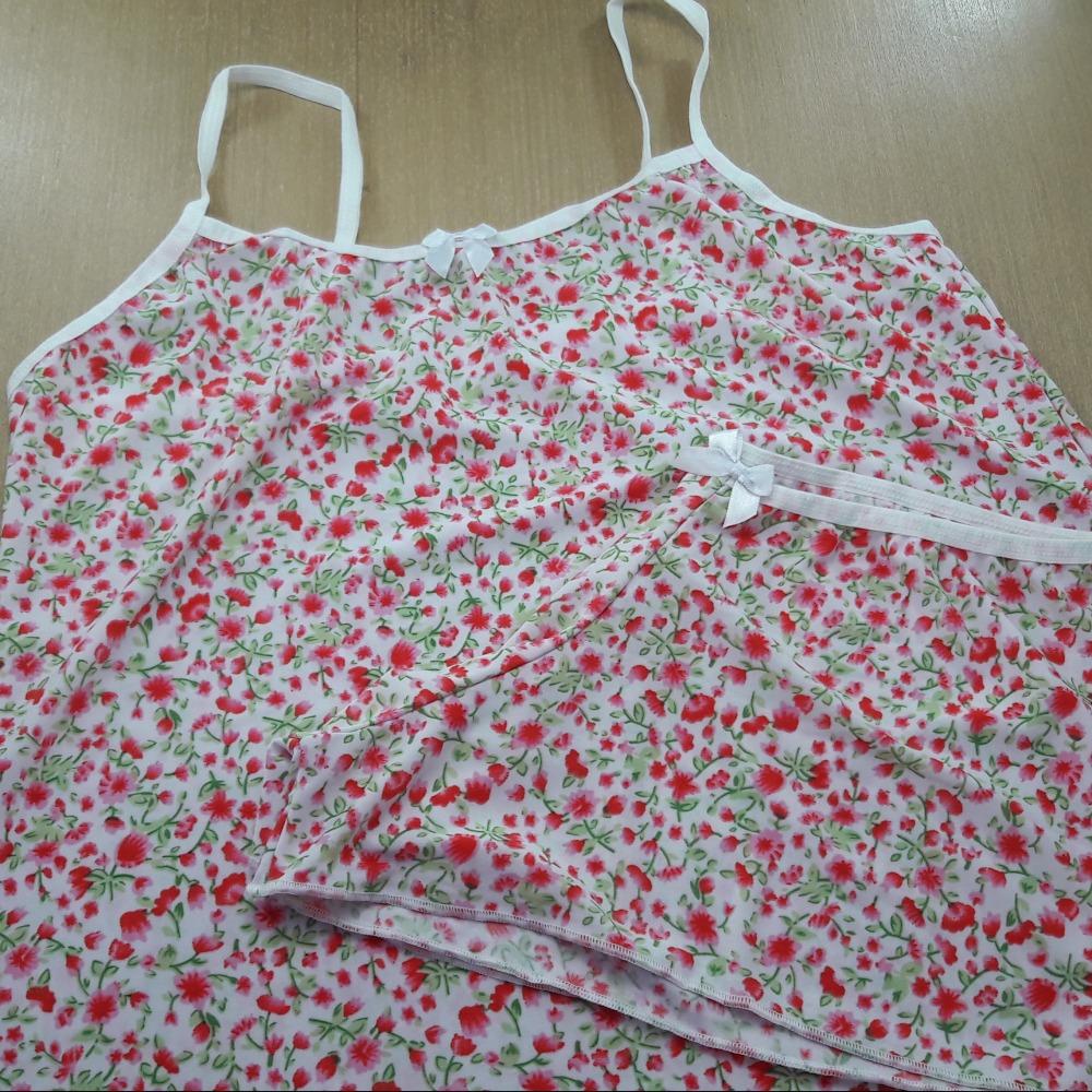 Short Doll Estampado Viés Branco/Estampa de Flores Rosa Pink