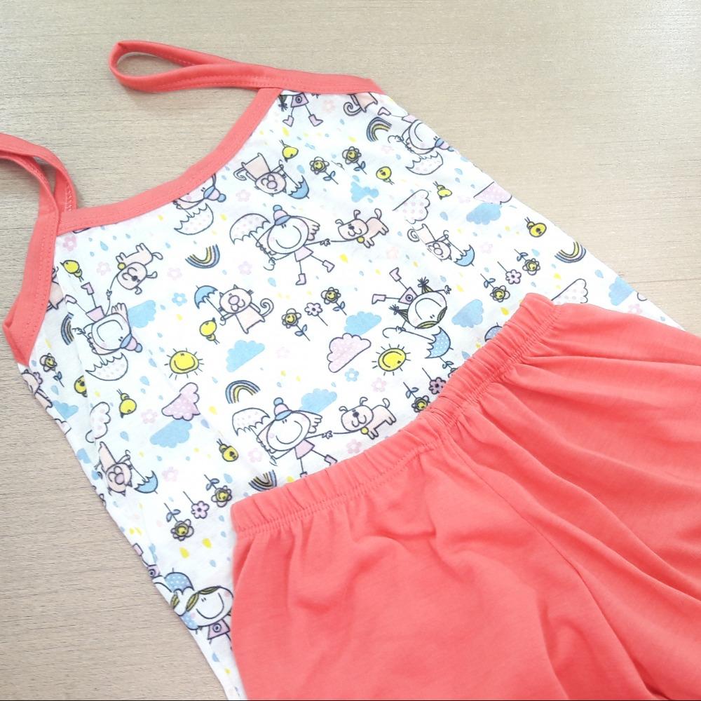 Baby Doll Infantil Feminino Vi�s Coral/ Marfim Estampado