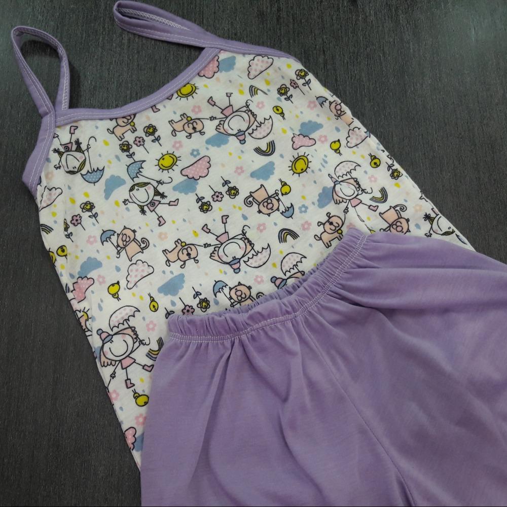 Baby Doll Infantil Feminino Vi�s  Lil�s/ Marfim Estampado