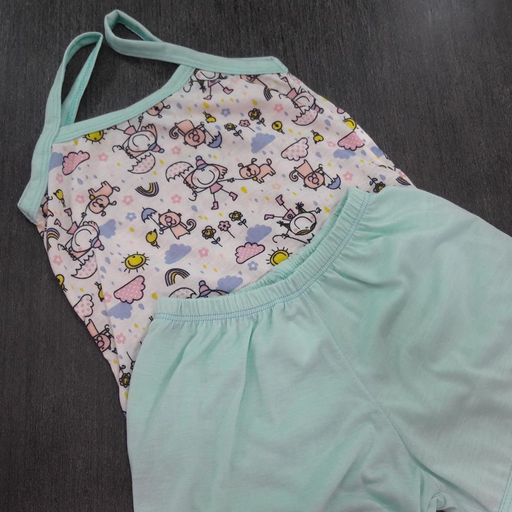 Baby Doll Infantil Feminino Vi�s  Verde/ Marfim Estampado