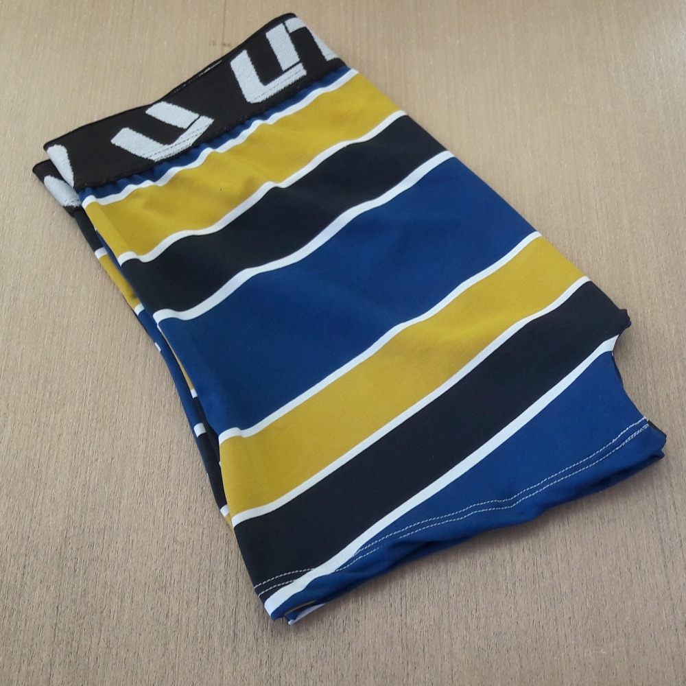 Cueca Boxer Microfibra Estampada UTOPIA Listras Azuis Pretas e Amarelas
