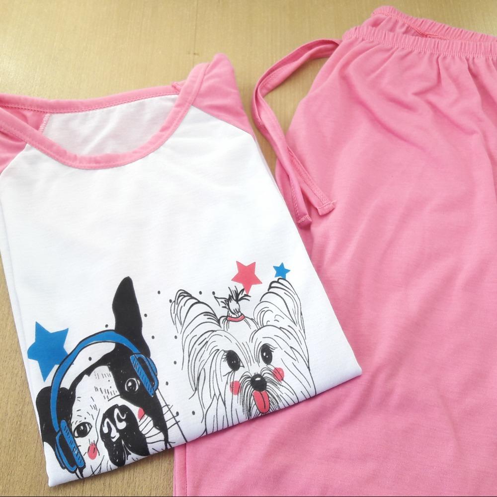 Pijama Feminino Adulto Rosa/ Estampas Variadas