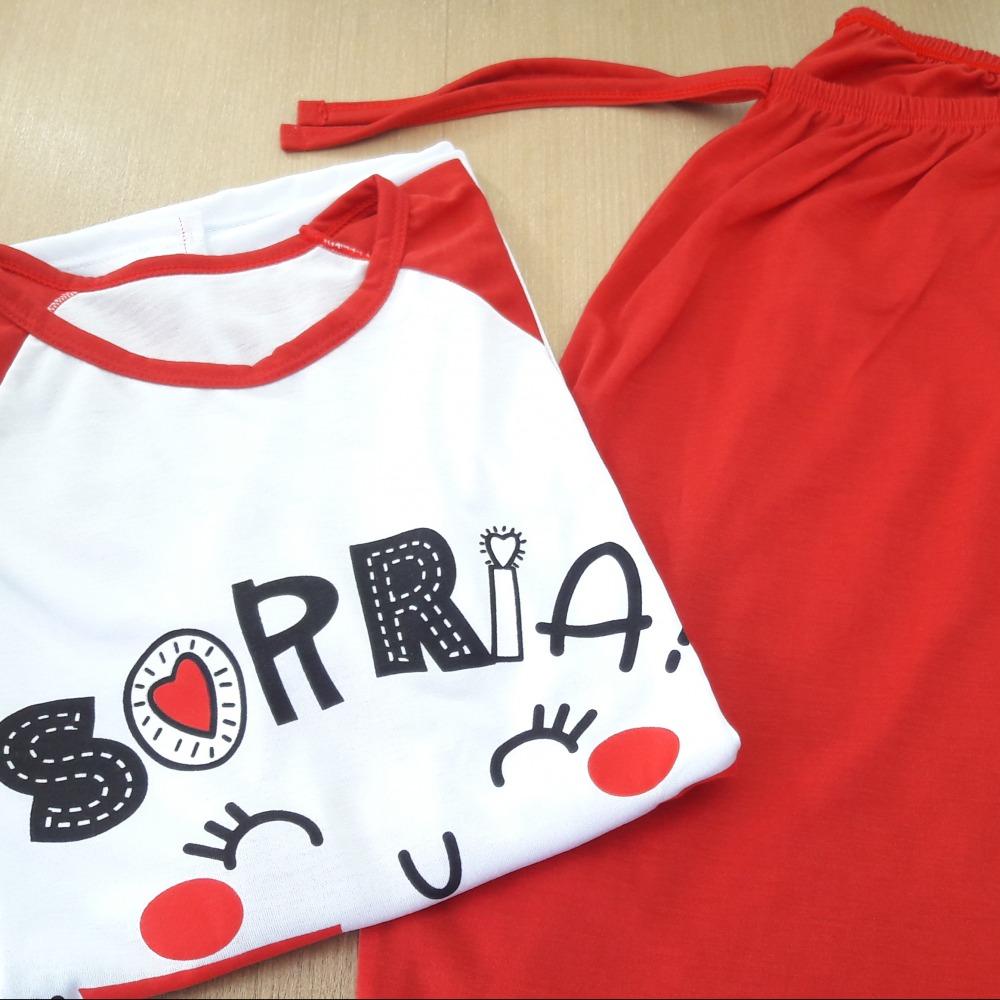 Pijama Feminino Adulto Vermelho/ Estampas Variadas
