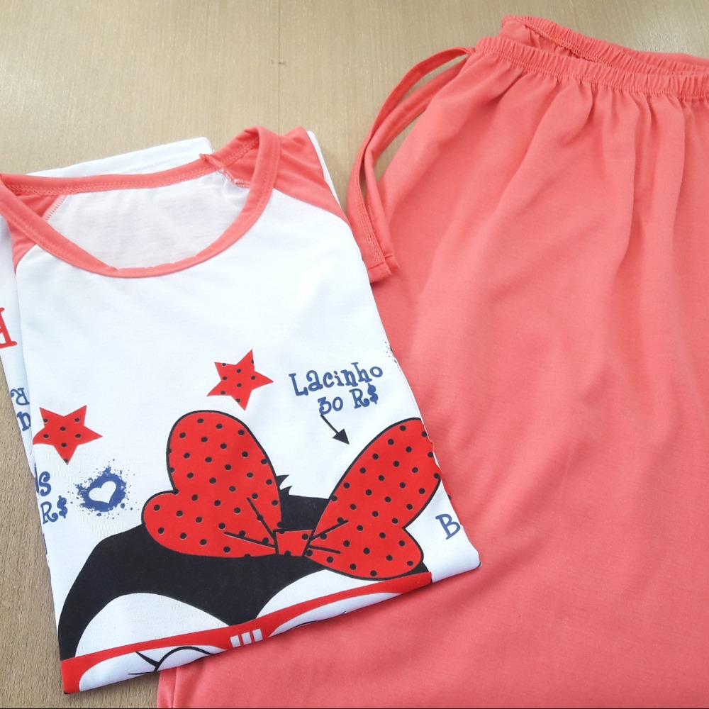 Pijama Feminino Adulto Coral/ Estampas Variadas