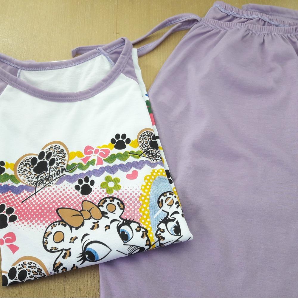 Pijama Feminino Adulto Lilás/ Estampas Variadas