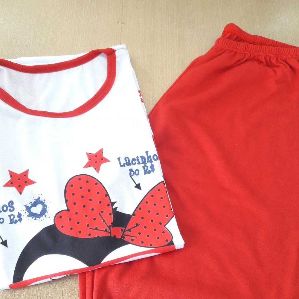 Pijama Pescador Feminino Vermelho/ Estampas Variadas