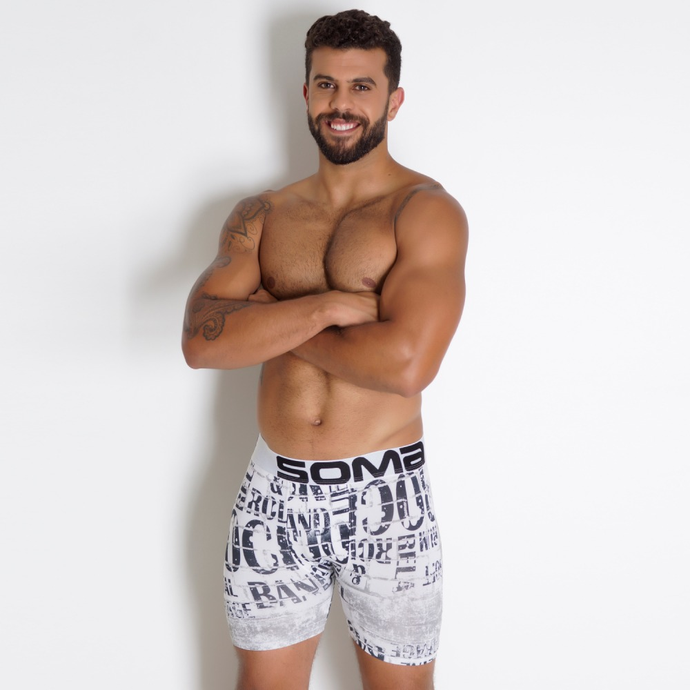 Cueca Boxer Estampada com El�stico Barra 50