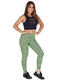 Calça Tecido Bolha Multicollor Verde