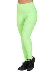 Calça Tecido Bolha Verde Neon