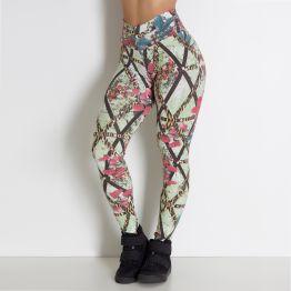 Legging Estampa Floral e Grades
