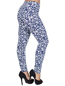 Calça de Cotton Estampada Azul Marinho e Branco