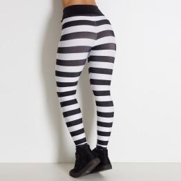 Calça Fitness Listrada Preto e Branco