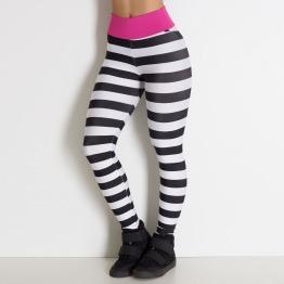 Calça Fitness Listrada Rosa Escuro Preto e Branco